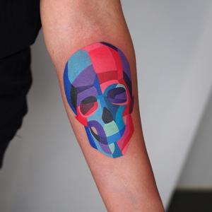 Skull Tattoo By Sasha Unisex #SashaUnisex #besttimetogettattooed #gettattooed #winter #besttattoos #watercolor #color #arm #skull #death #newschool