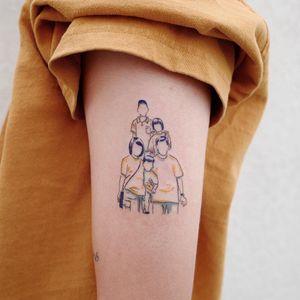 Family tattoo by Lit Tattoo #LitTattoo #sistertattoos #sisters #sistertattooidea #familytattoo #siblingtattoo #illustrative #watercolor