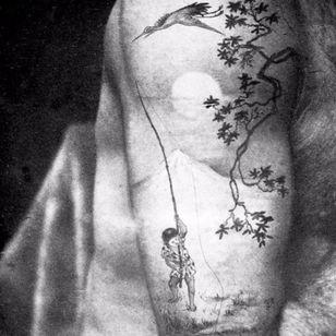 Tattoo by tattoo artist Sutherland Macdonald #SutherlandMacdonald #Britishtattooartist #vintagetattoo #tattoohistory #tattooculture #traditionaltattoo #