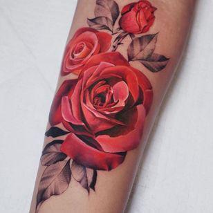 Rose tattoo by Rostra #Rostra #rosetattoo #rosetattoos #rosetattooidea #rose #roses #flower #floral #petals #plant #nature #bloom