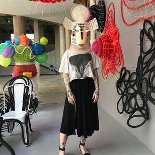 Wearing a Leeroy New mask at Palais de Tokyo - Tattooed Travels: Paris, France #paris #france #paristattoo #paristattooartist #paristattooshop #tattooparis