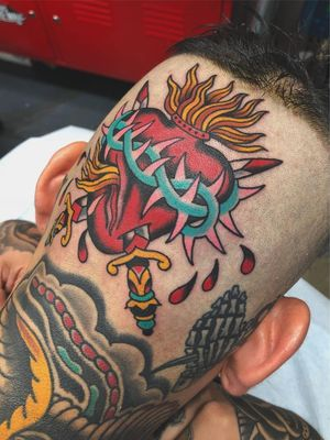 Thorn tattoo by Matt Cannon #MattCannon #thorntattoo #thorntattoos #thorn #plant #nature #pain #sacredheart #swords #scalp #Headtattoo #color #traditional