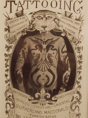 Tattoo poster by tattoo artist Sutherland Macdonald #SutherlandMacdonald #Britishtattooartist #vintagetattoo #tattoohistory #tattooculture #traditionaltattoo