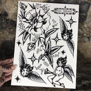 Blackwork tattoo flash by Monki Diamond #MonkiDiamond #blackwork #illustrative