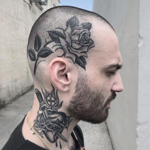 Rose tattoo by Javier Betancourt #JavierBetancourt #rosetattoo #rosetattoos #rosetattooidea #rose #roses #flower #floral #petals #plant #nature #bloom