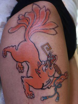 Kitsune tattoo by Ross Turpin of Star Crossed Tattoo #RossTurpin #StarCrossedTattoo #HongKongtattooshop #HongKong