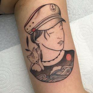 Illustrative tattoo by Ani Des Aubes of Bisou Bisou #AniDesAubes #BisouBisou #paris #france #paristattoo #paristattooartist #paristattooshop