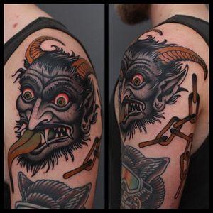 Krampus tattoo by Tony Bluearms #TonyBluearms #krampustattoo #krampus #christmastattoo #color #traditionaltattoo