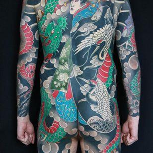 Dragon and geisha tattoo by Luca Ortis #LucaOrtis #geisha #dragon #ryu #bodysuit #japanesetattoos #japanese #irezumi #japanesemythology #mythology