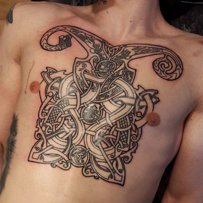 Viking tattoo by unknown artist - please get in contact for credit #vikingtattoo #viking #norse #norsemythology #norsesymbols #symbols