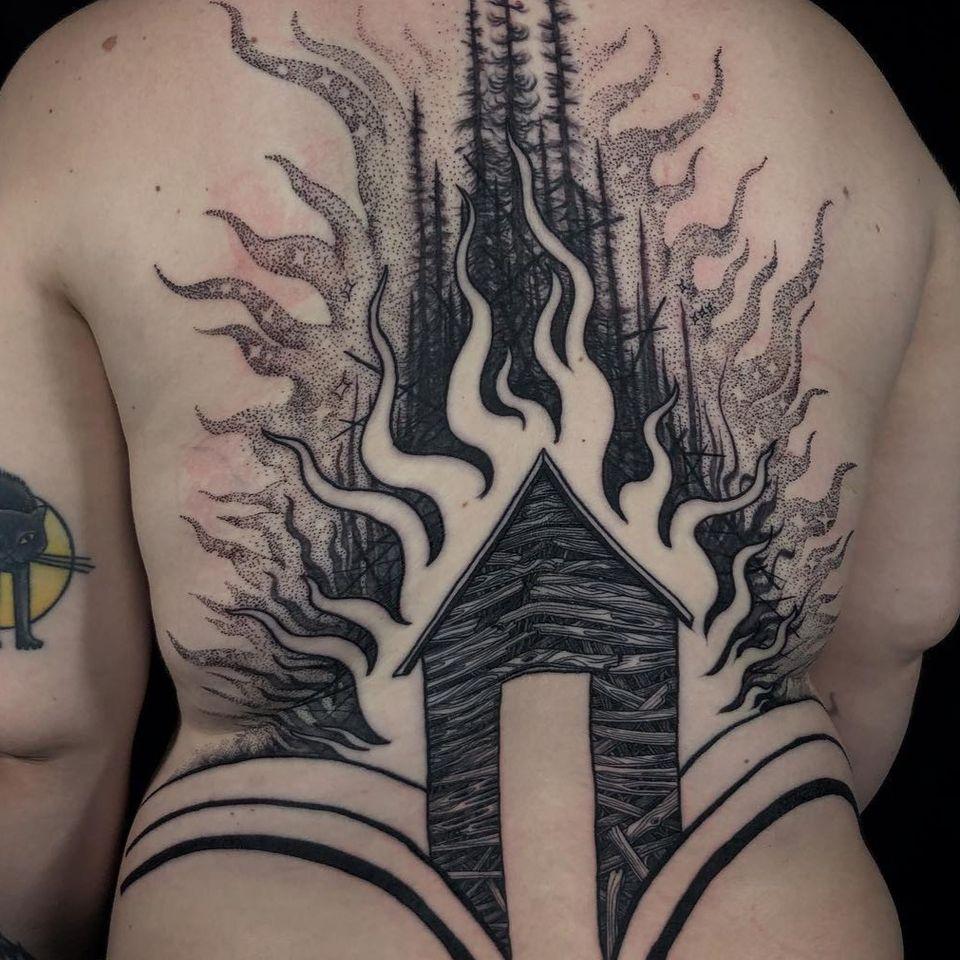 Fire tattoo by Noelle Longhaul #NoelleLonghaul #LaughingLoone #firetattoos #firetattoo #fire #flames