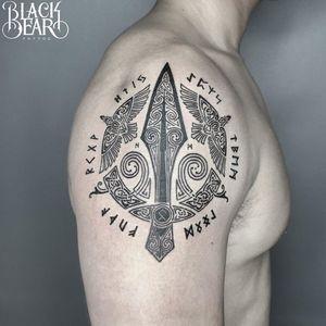 Gungnir tattoo by Nam Phan of Black Bear Tattoo #NamPhan #BlackBearTattoo #Gungnirtattoo #Gungnir #vikingtattoo #viking #norse #norsemythology #norsesymbols #symbols