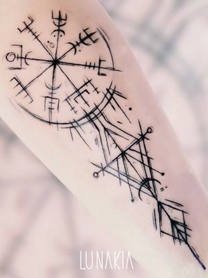 Vegvisir tattoo by Lunakia Tattoo #Lunakiatattoo #lunakia #vegvisir #vikingtattoo #viking #norse #norsemythology #norsesymbols #symbols