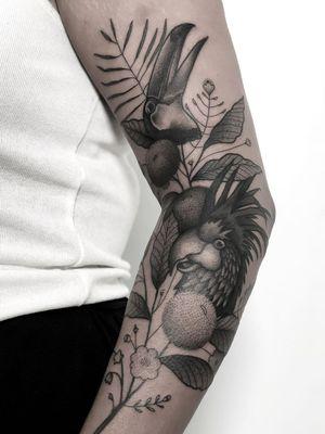 Plant tattoo by Daniel the Gardener #DanieltheGardener #illustrative #linework #florals #flowers #leaves #plants #nature #botanicalillustration #birds #toucan
