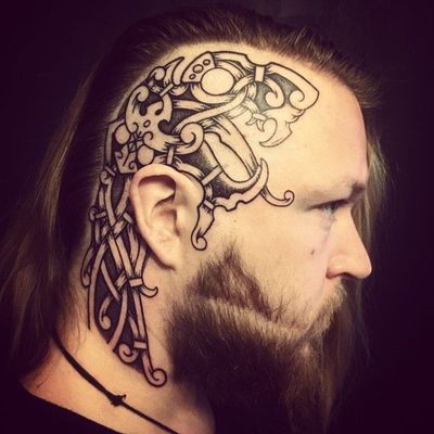 Viking tattoo by Peter Madsen #PeterMadsen #vikingtattoo #viking #norse #norsemythology #norsesymbols #symbols