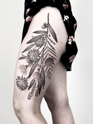 Plant tattoo by Daniel the Gardener #DanieltheGardener #illustrative #linework #florals #flowers #leaves #plants #nature #botanicalillustration