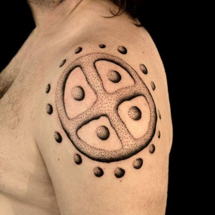 Sun Wheel tattoo by Thomas Storm #ThomasStorm #sunwheeltattoo #sunwheel #vikingtattoo #viking #norse #norsemythology #norsesymbols #symbols