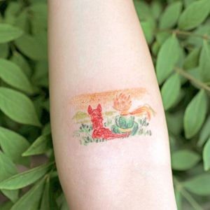 Illustrative watercolor tattoo by Ovenlee #Ovenlee #OvenleeTattoo #StudioBySol #watercolor #illustrative #colorpencil #sketch #cute #thelittleprince #fox #landscape #childrensbook #book #movie