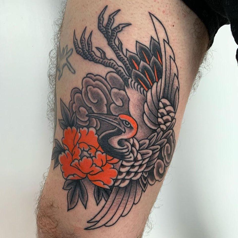 Crane tattoo by Santiago Lombardi #SantiagoLombardi #crane #cranetattoo #peony #japanesetattoos #japanese #irezumi #japanesemythology #mythology