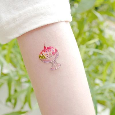 Illustrative watercolor tattoo by Ovenlee #Ovenlee #OvenleeTattoo #StudioBySol #watercolor #illustrative #colorpencil #sketch #cute #icecream #cherry #dessert #food