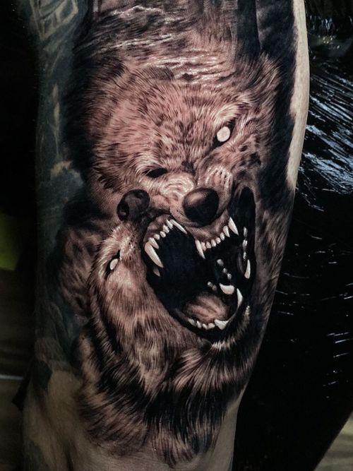 Wolf tattoo by Ash Higham #AshHigham #wolftattoo #wolftattoos #wolf #animal #nature #wolves