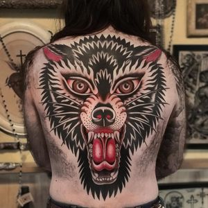 Traditional wolf tattoo by Austin Maples of Idle Hand SF #AustinMaples #IdleHand #wolftattoo #wolftattoos #wolf #animal #nature #wolves