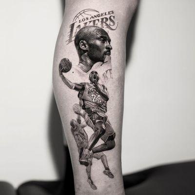 Kobe Bryant tattoo by Bran.D and Inal Bersekov #BranD #InalBersekov #kobebryanttattoo #kobebryant #Lakers #24 #basketball #sports #memorialtattoo