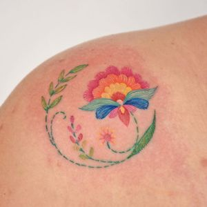 Embroidery tattoo by Fer Tattoo #FerTattoo #embroidery #color #flower #floral #plant