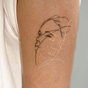 Illustrative tattoo by Pauline Tattoo #PaulineTattoo #illustrative #portrait #whiteink #linework #fineline