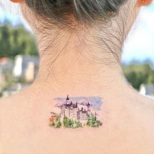 Illustrative watercolor tattoo by Ovenlee #Ovenlee #OvenleeTattoo #StudioBySol #watercolor #illustrative #colorpencil #sketch #cute #landscape #cityscape #architecture