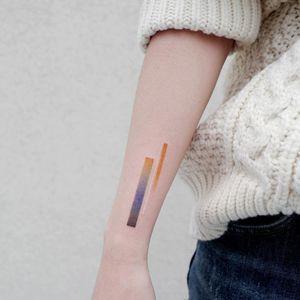 small tattoo by tattooist basil #tattoistbasil #abstract #shapes #color #geometric