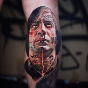 No Country for Old Men tattoo by Mashkow #Mashkow #JavierBardem #NoCountryforOldMen #portrait #realism #graffiti #movietattoo