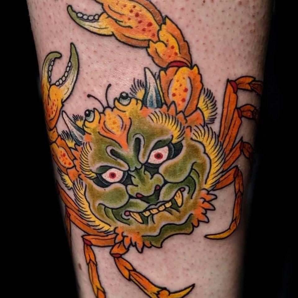 Heikigani tattoo aka Japanese crab tattoo by Henning Jorgensen #HenningJorgensen #Henning #Heikegani #crab #crabtattoo #japanesetattoos #japanese #irezumi #japanesemythology #mythology