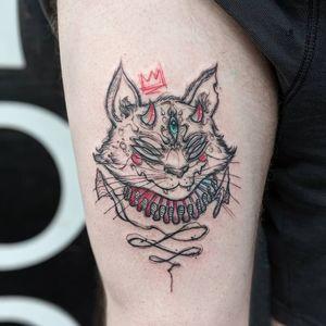 Illustrative cat tattoo by plasticmessiah #plasticmessiah #cattattoo #cat #thirdeye #illustrative #crown