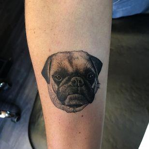 Pug tattoo by Ami James #AmiJames #pugtattoo #realism #realistic #dog #petportrait