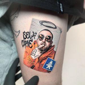 Mac Miller tattoo by Kozo Tattoo #KozoTattoo #MacMiller #portrait #music #graffiti #realism #wheatpaste