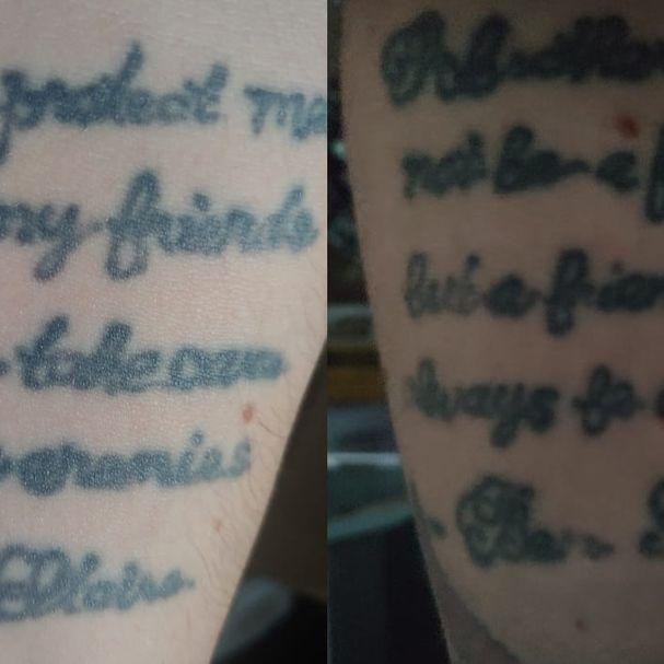 Artist unknown #tattooregret #scratchertattoo #scripttattoo #regrettattoo