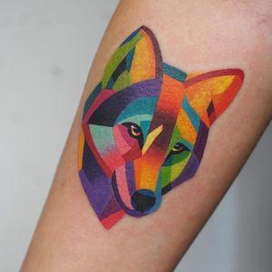 Wolf tattoo by Sasha Unisex #SashaUnisex #wolftattoo #wolftattoos #wolf #animal #nature #wolves