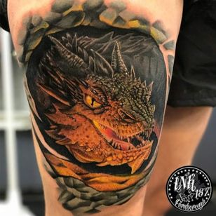 Smaug tattoo by ink187uk #ink187uk #smaug #smaugtattoo #dragontattoos #dragontattoo #dragon #mythicalcreature #myth #legend #magic #fable