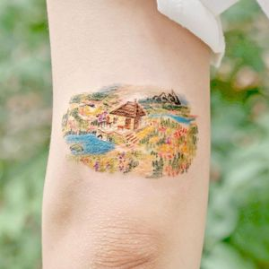 Illustrative watercolor tattoo by Ovenlee #Ovenlee #OvenleeTattoo #StudioBySol #watercolor #illustrative #colorpencil #sketch #cute #landscape #nature #forest #cottage