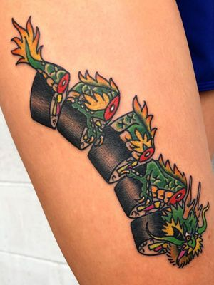 Sushi dragon tattoo by Mike Reed #MikeReed #dragontattoos #dragontattoo #dragon #mythicalcreature #myth #legend #magic #fable #sushi #traditional