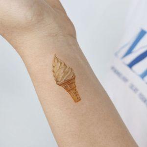 Small ice cream tattoo by Pureum tattoo #pureumtattoo #pureum #icecream #dessert #cute