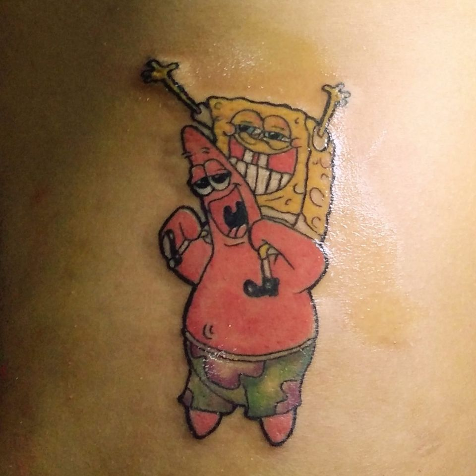 Artist unknown #tattooregret #spongebobtattoo #regrettattoo