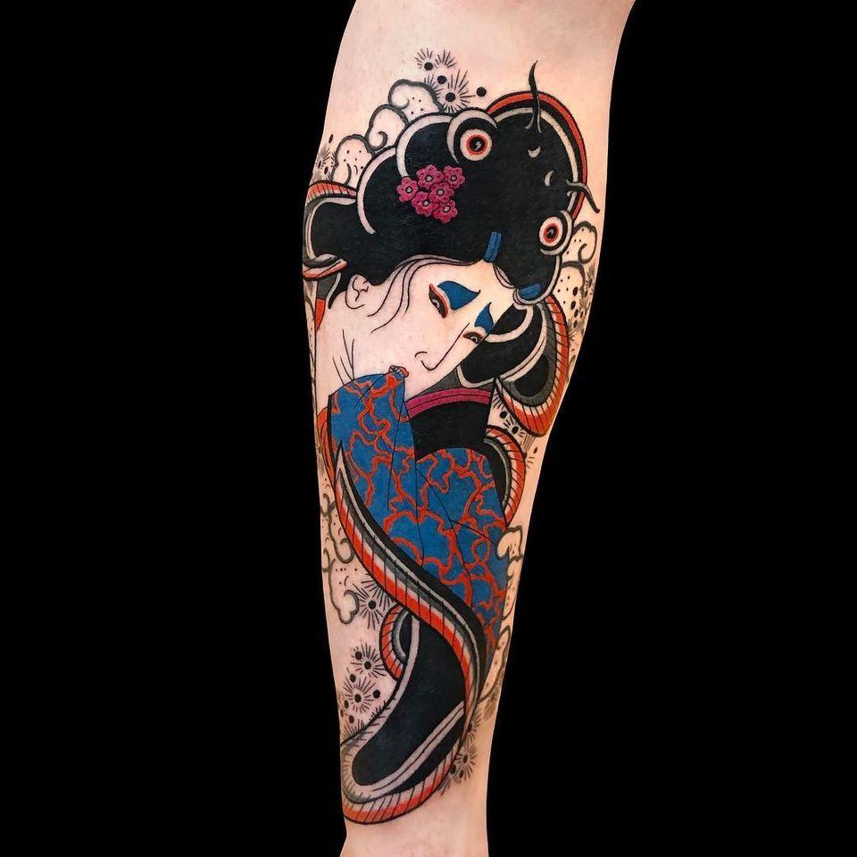 Namazu tattoo mixed with geisha portrait by Emanuele Sircana #EmanueleSircana #namazu #namazutattoo #catfishtattoo #geishatattoo #japanesetattoos #japanese #irezumi #japanesemythology #mythology
