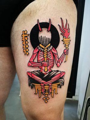 Esoteric thigh tattoo by El Carlo #ElCarlo #Esoteric #Esoterictattoo #Esoterictattoos #alchemytattoo #alchemytattoos #alchemy #satan #darkart