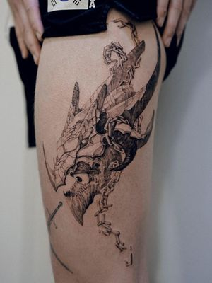 Dragon tattoo by Woohwa Fable #Woohwafable #dragontattoos #dragontattoo #dragon #mythicalcreature #myth #legend #magic #fable