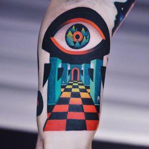 Eye tattoo by David Peyote #DavidPeyote #eye #color #surreal #graphicart #architecture #trippy