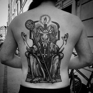 Satanic back tattoo by Haervaerk #Haervaerk #Esoteric #Esoterictattoo #Esoterictattoos #alchemytattoo #alchemytattoos #alchemy #satan #darkart