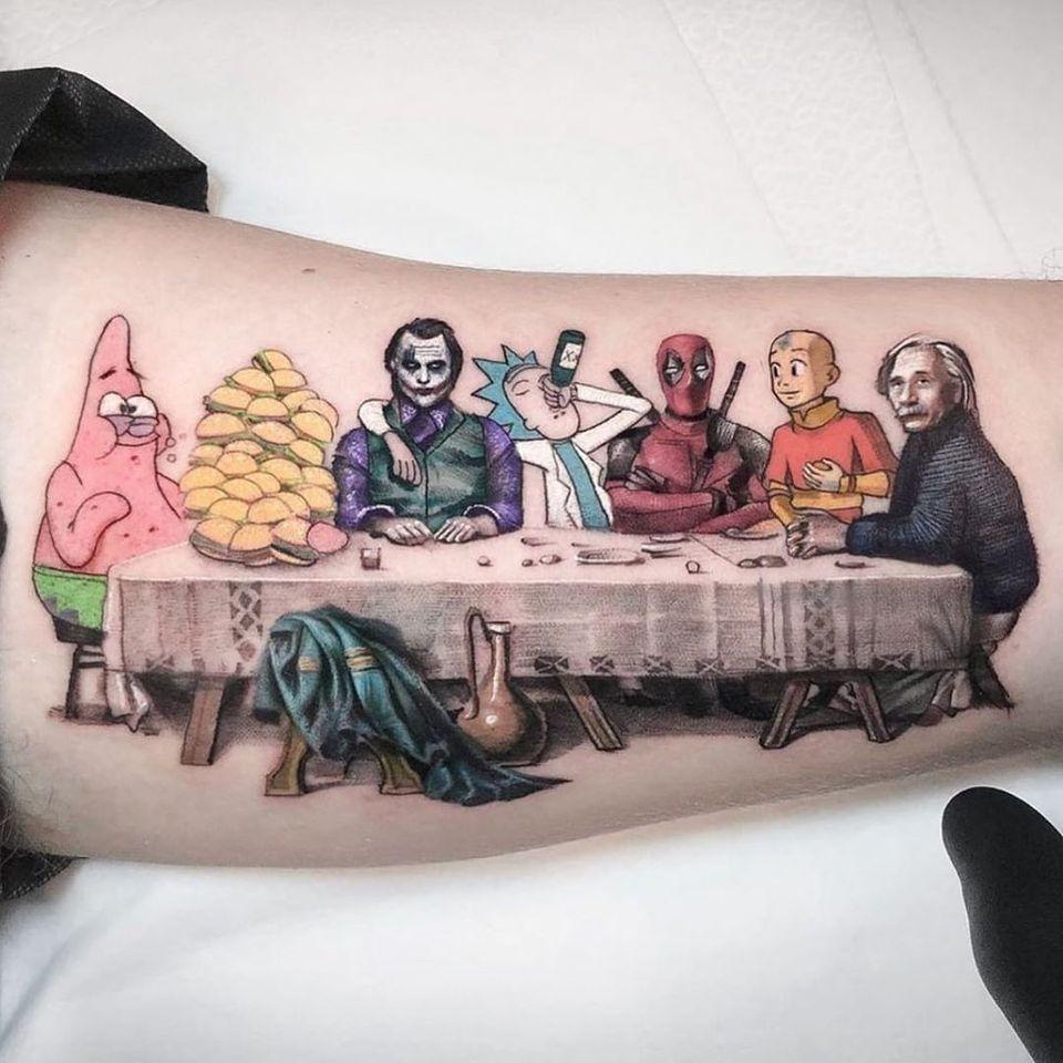 Last Supper tattoo by Kozo Tattoo #KozoTattoo #lastsupper #realism #realistic #illustrative #newschool #portrait #spongebob #patrick #thejoker #rickandmorty #thelastairbender #airbender #anime #einstein #deadpool