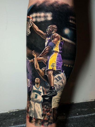 Kobe Bryant tattoo by Steve Butcher #SteveButcher #kobebryanttattoo #kobebryant #Lakers #24 #basketball #sports #memorialtattoo
